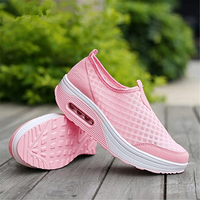 Amazon.com | Baqijian Summer Women Flat Platform Shoes Woman Casual Air Mesh Shoes Slip On Gray Fabric Shoes Zapatos Mujer | Flats