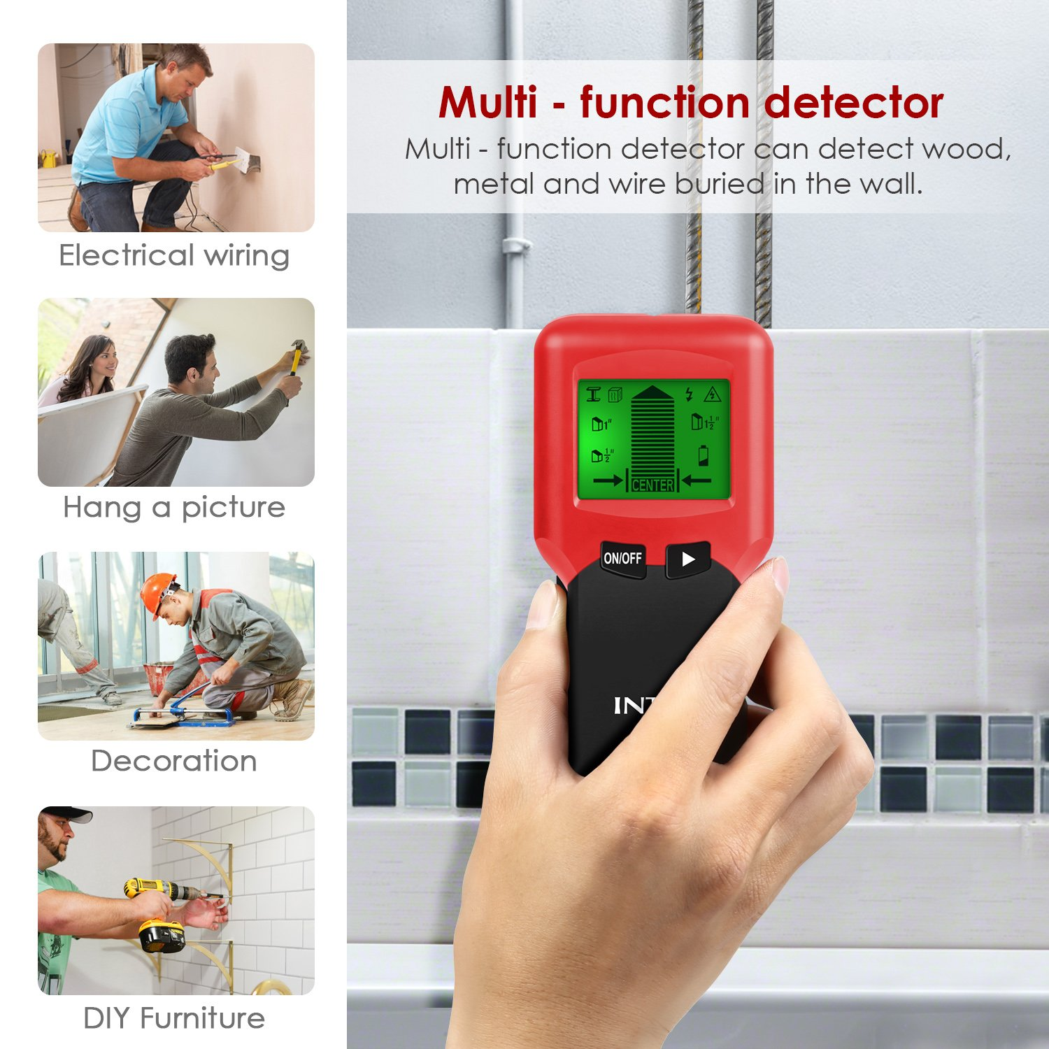Intey Stud Detector 3 In 1 Finder For Walls Ac Wire Locating Electrical Wiring Behind Wood Wall Scanner Electric Cable With Center Finding Metal
