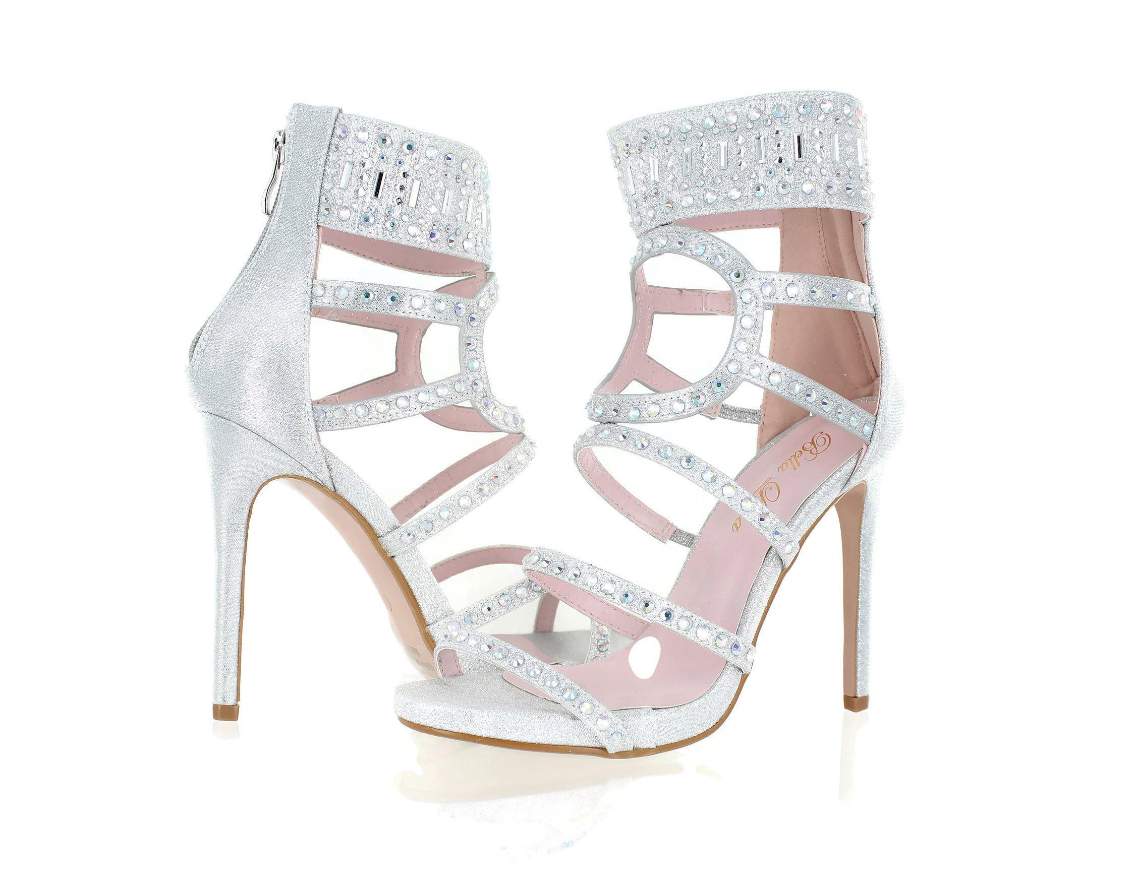 Urban Heel Women's Rhinestone Strappy Gladiator Stiletto Heels