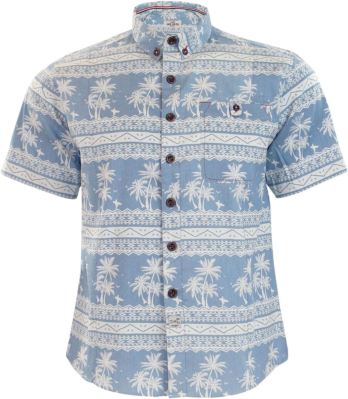 Jacksouth Nuevo Hombre Marca Chambray Hawaiian impresión Collar de algodón Camisa Casual