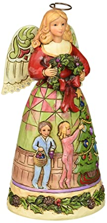 Jim Shore for Enesco Heartwood Creek Christmas Angel with Tree Scene Figurine, 6