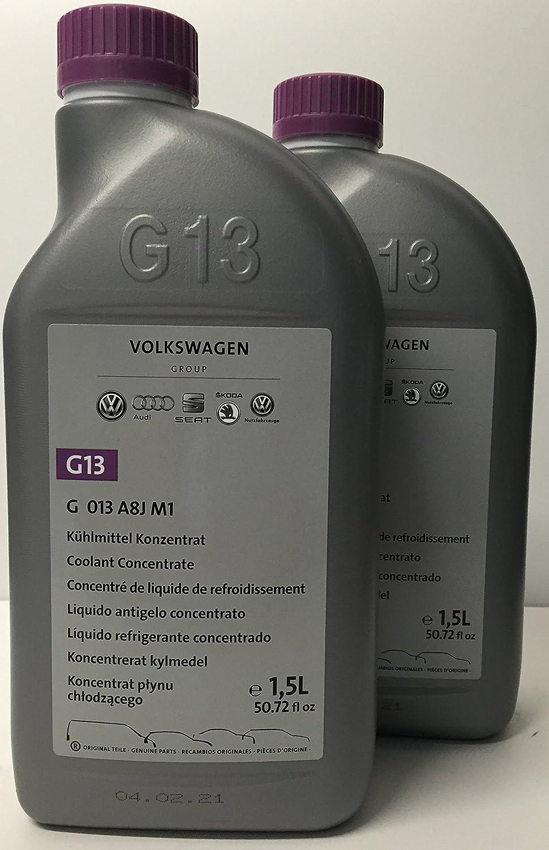 Volkswagen - 2 confezioni di liquido antigelo/refrigerante puro G13 originale, 1,5 l (tot. 3 l)