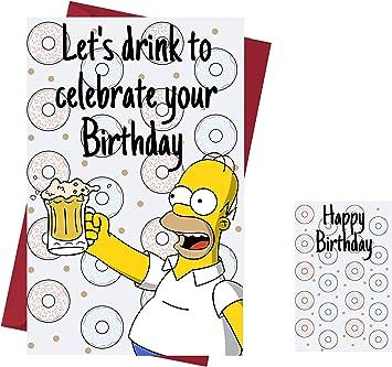 Carte D Anniversaire Humoristique Simpsons Les Simpsons Carte D Anniversaire Homer Simpson Pour Amis Famille Amoureux Etc Qui Aime Les Simpsons Avec Enveloppe Amazon Ca Fournitures Pour Le Bureau