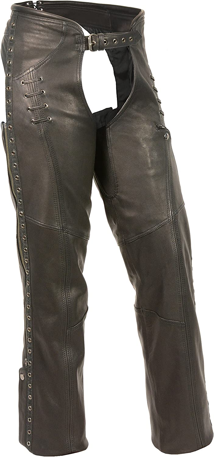 Shaf Leather Womens Chaps Womens Lightweight Hip Set Chap W// Lace And Grommet Details Xs Style # MLL6535-XS-BLACK