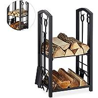 Relaxdays Haardhoutrek met bestek, 2 planken, staal, haardbestek 4-delig, schep, bezem, tang & haken, zwart, 73 x 46 x…