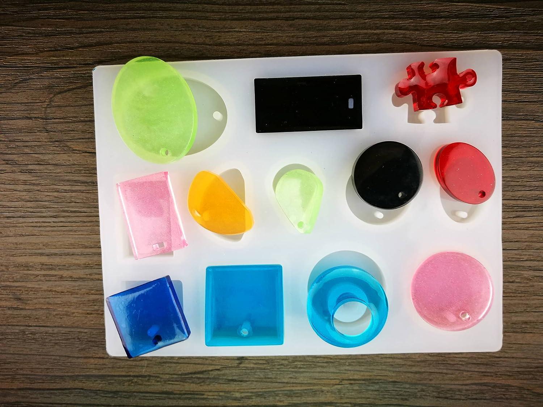Meetory - Juego de 3 moldes de silicona para joyas de estilo variado de resina con 50 cáncamos para hacer colgantes, pendientes, joyas, ...