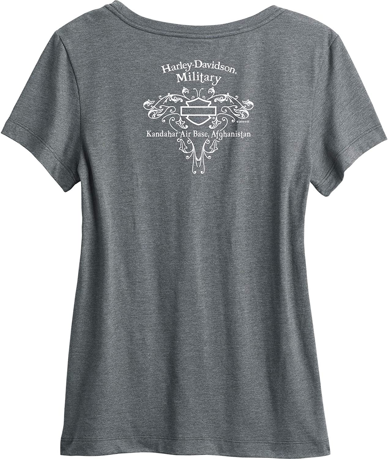 Fused Womens Scoop Neck Foil Graphic T-Shirt Kandahar AB HARLEY-DAVIDSON Military