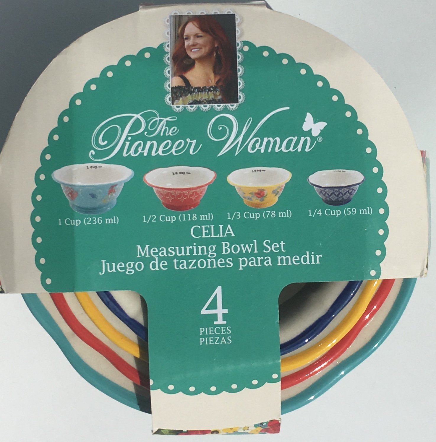 The Pioneer Woman CELIA 4-Piece Ceramic Decorated Measuring Bowls