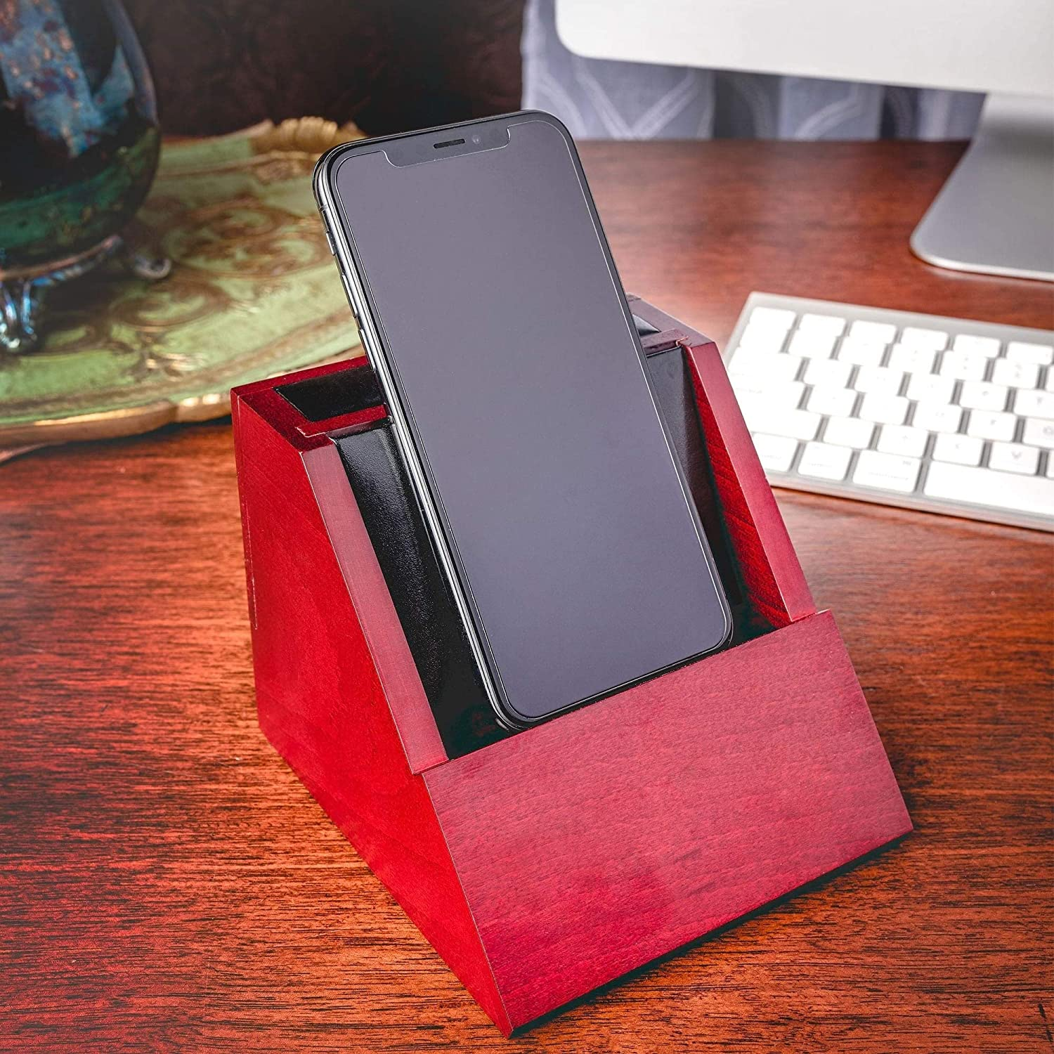 Rosewood and Leather Desktop Cell Phone Holder Red