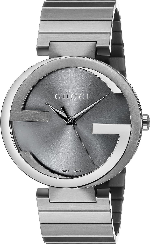 Gucci YA133210 - Reloj de Cuarzo Unisex, con Correa de Acero Inoxidable Chapado, Color Gris