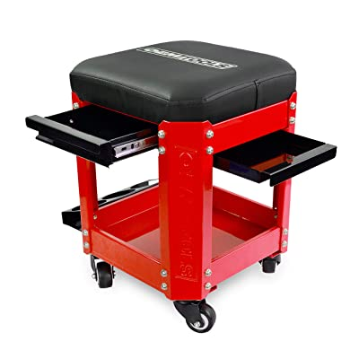 OEMTOOL 24998 Red Rolling Workshop Creeper Seat with 2 Tool Storage Drawers Under Seat, Parts Storage, & Can Holders | Handy Mechanic's Seat is the Ultimate Garage Accessory| Work in Comfort: Automotive
