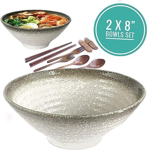 Vallenwood Noodle Bowl Sets Ceramic Large Ramen Bowls Set