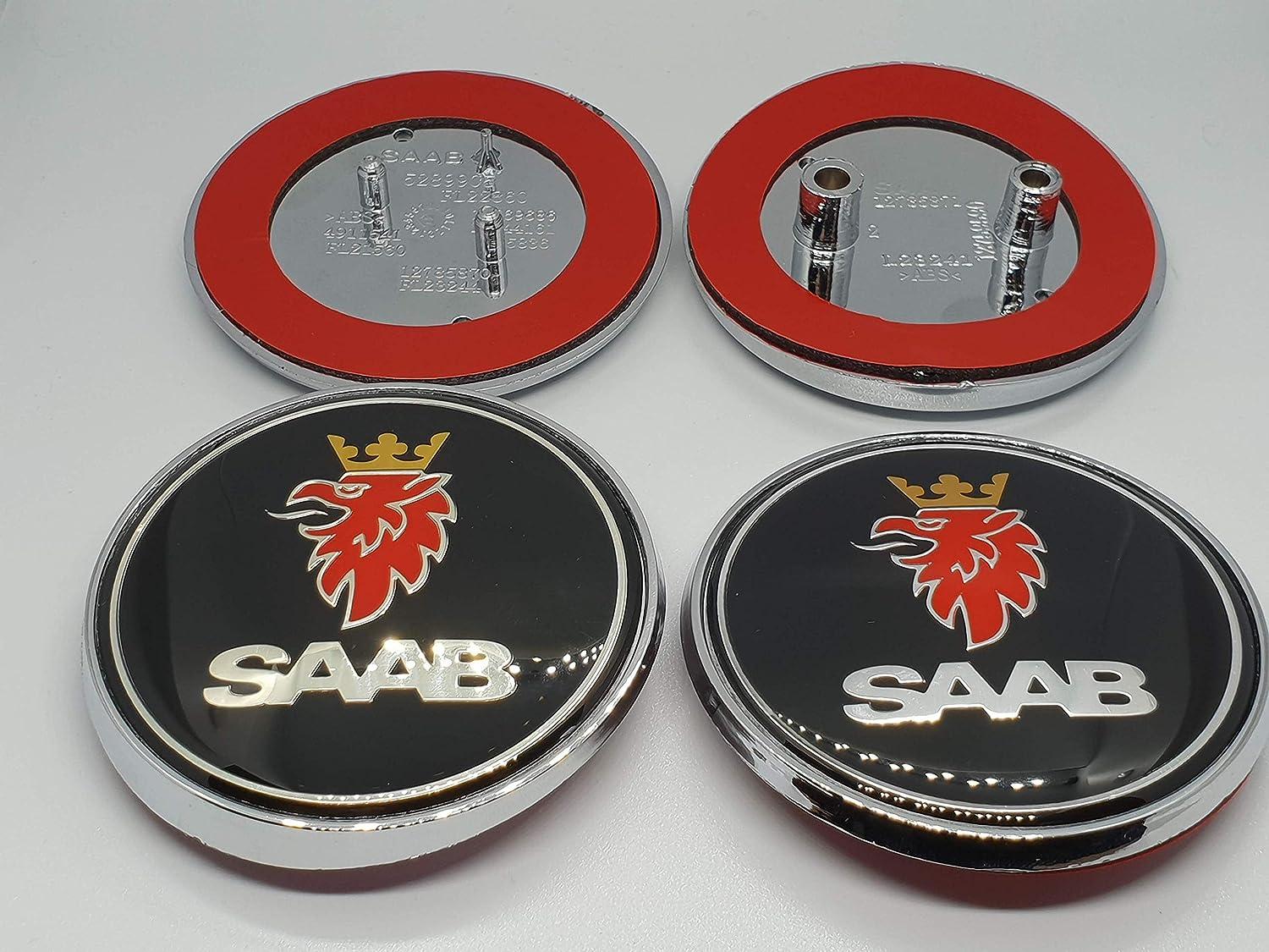 SAAB Black Front /& Rear Badge Set 68mm