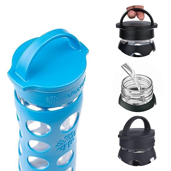 Lifefactory 220014 botella con tapón clásico vidrio/silicona azul océano 6,75 x 6,75 x 24,5 cm, 475 ml: Amazon.es: Hogar