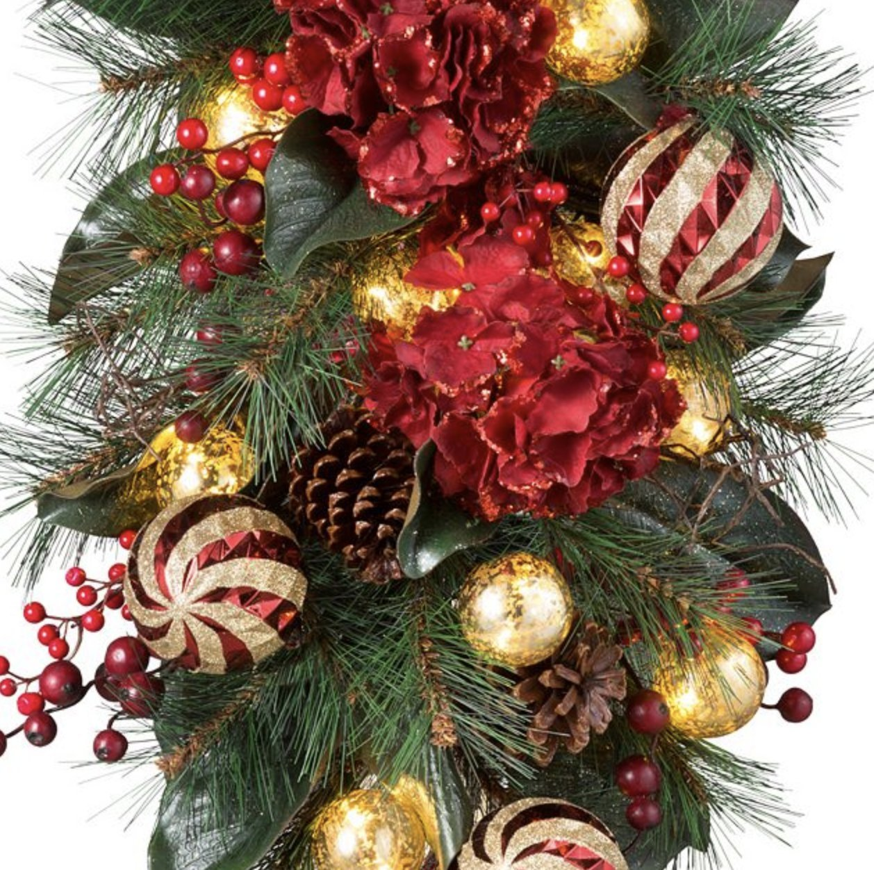 Pre-Lit Holiday Hydrangea Teardrop Christmas Swag - 28''