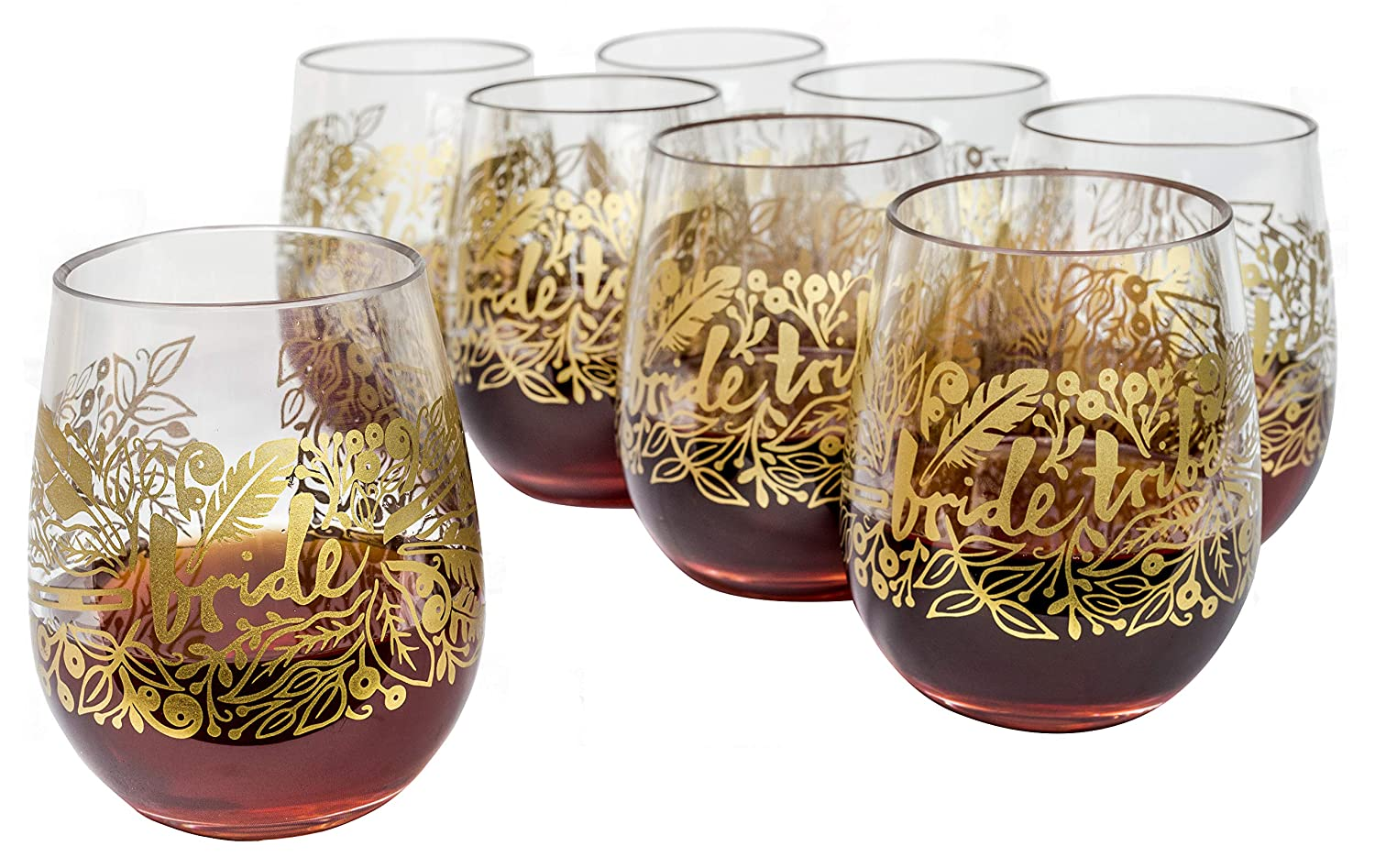 Bride Tribe Reusable Plastic Stemless Wine Glasses by Narwhal Party - Set of 8 Glasses is Perfect for Bachelorette Parties, Bridesmaid Gifts, and Bridal Party Favors