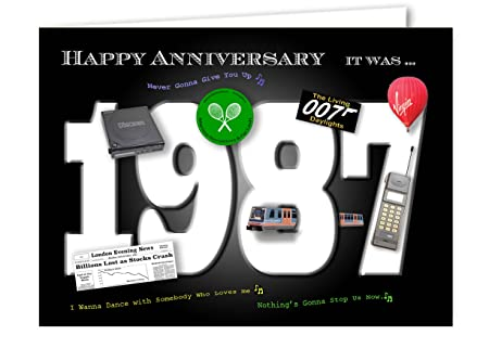 32nd Anniversary Card Souvenir Of 1987 Amazon Co Uk Kitchen Home