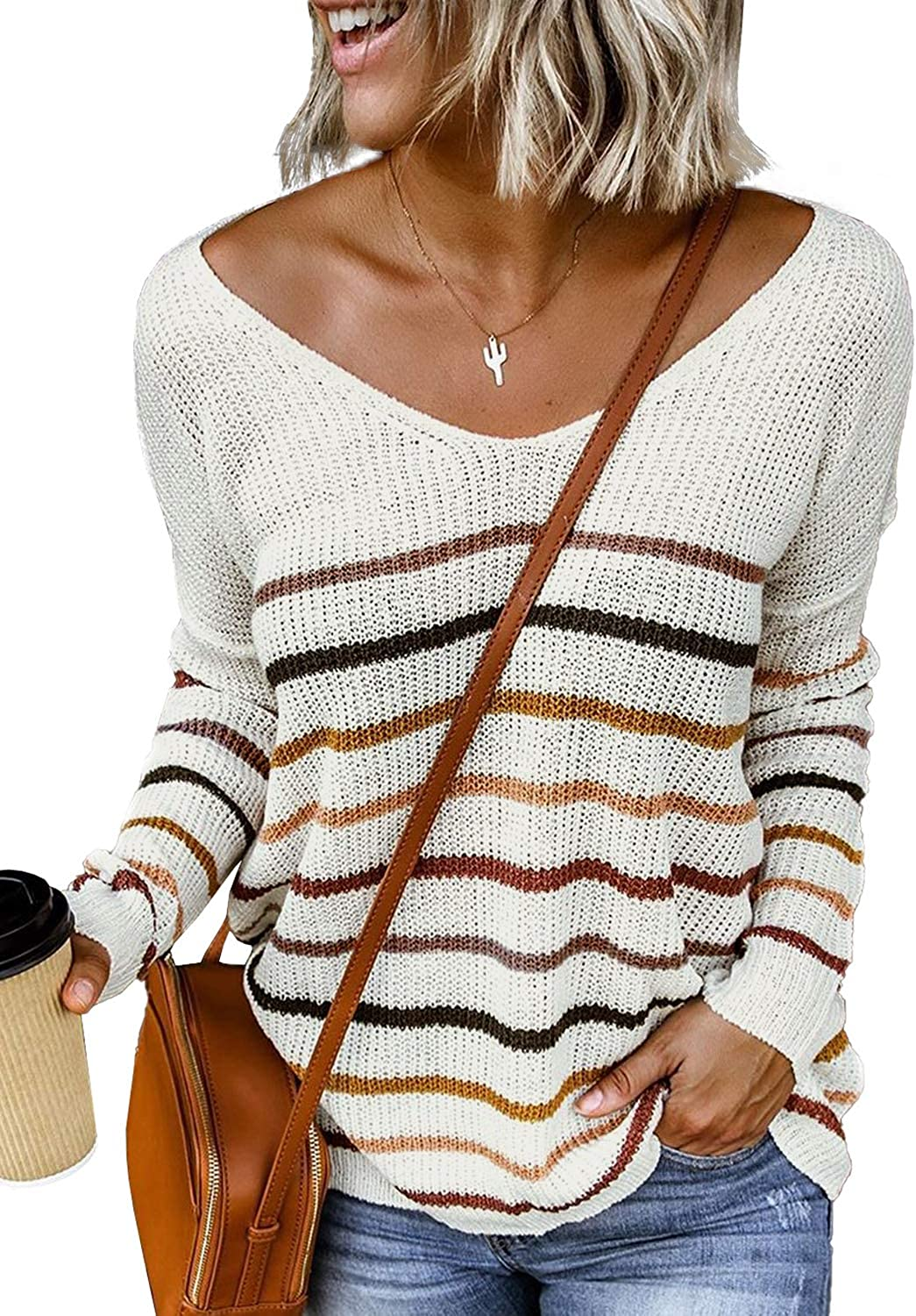 Tiksawon Womens Striped Lightweight Oversized Sweaters Off The Shoulder Long Sleeve Pullover Tops Blouses