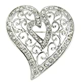 Amazon Price History for:Arabesque Love Swirls Silver Heart Rhinestone Brooch Pin with Clear Crystals