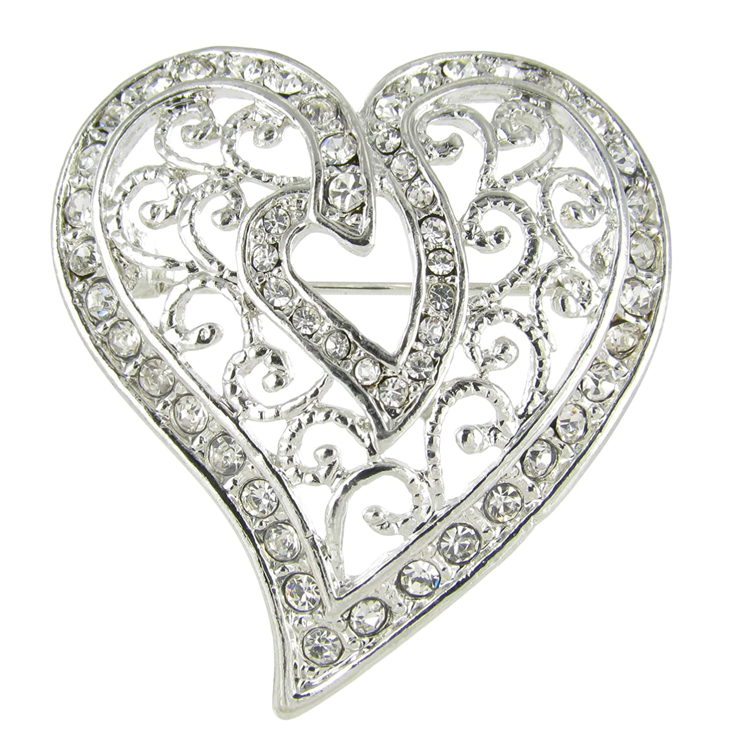 Arabesque Love Swirls Silver Heart Rhinestone Brooch Pin with Clear Crystals RUL 0094320CL