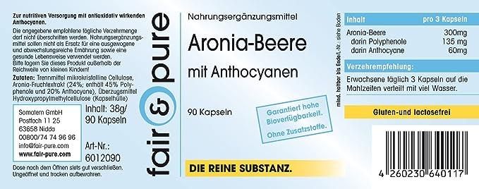 90 cápsulas vegetarianas de bayas de aronia (45% polifenoles, 20% antocianos) - Sustancia pura sin aditivos: Amazon.es: Salud y cuidado personal