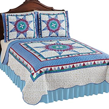 Blue King Collections Etc Reversible Floral Quilt with Scalloped Edges and Two-Tone Design