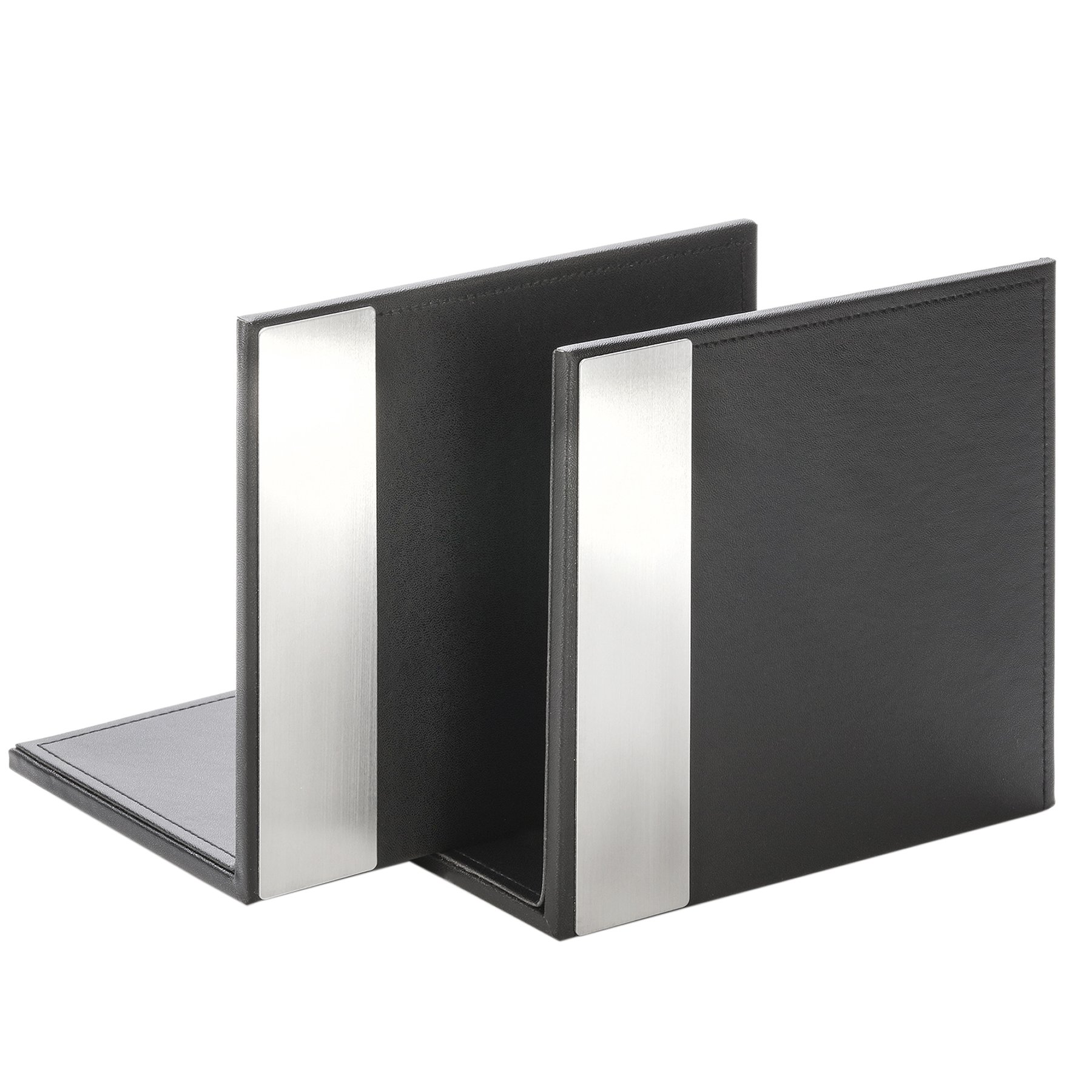 Artistic ART43008 Architect Line Leather-Like Bookends (Pair), Black with Brushed Metal & Matching Black Stitching and Velvet-Like Lining