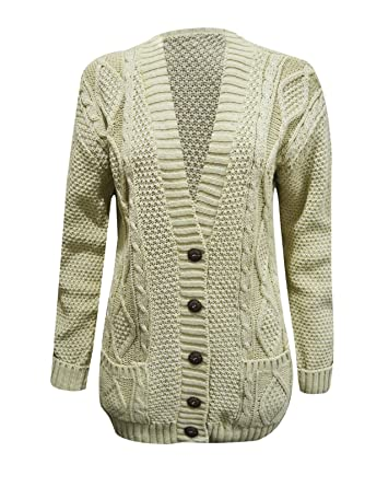 b35c618515 HOT LOOK LADIES WOMENS CHUNKY CABLE KNITTED BUTTONED UP POCKTES BOYFRIEND  CARDIGAN TOP DRESS LONG SLEEVE