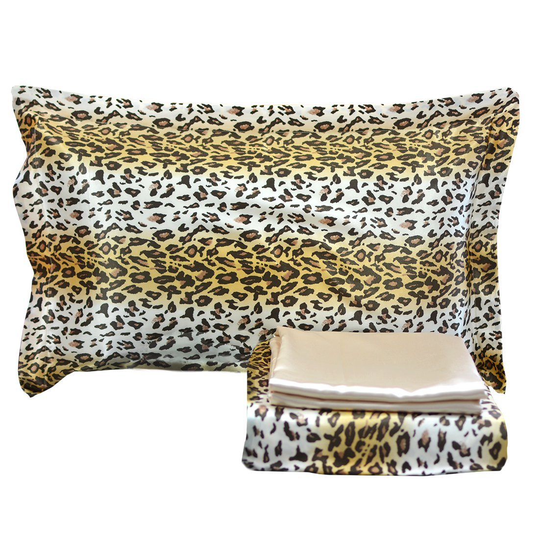 Brown bedding sets queen - Fadfay Luxury 4 Piece Satin Silky Bed Sheet Set Bedding Collection Leopard Print
