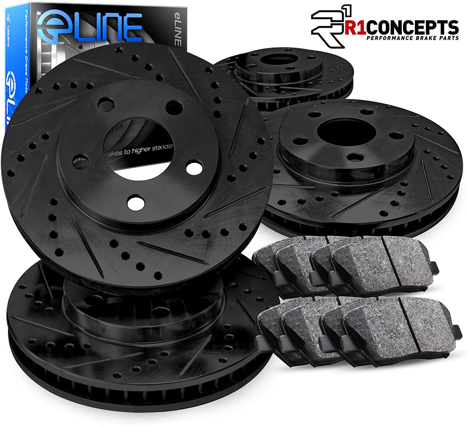 DRILLED SLOTTED BRAKE ROTORS /& CERAMIC BRAKE PADS A272 FULL KIT BLACK ELINE