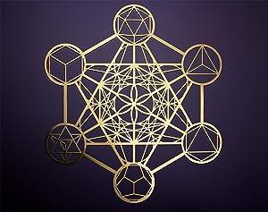 "ZenVizion 13.5"" Metatron's Cube Gold Brass Wall Art, Sacred Geometry Home Decor, Meditation Symbol, Yoga Hanging Artwork, Laser Cut Wall Sculpture, Wealth, Prosperity, Abundance, Gift Purpose"