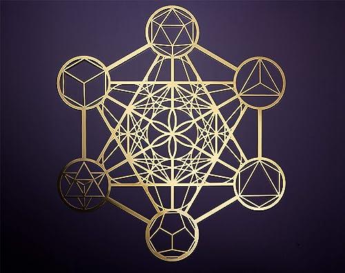 ZenVizion 13.5″ Gold Metatron's Cube Wall Decor Mandala