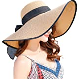 Women's Wide Brim Sun Protection Straw Hat,Folable Floppy Hat,Summer UV Protection Beach Cap
