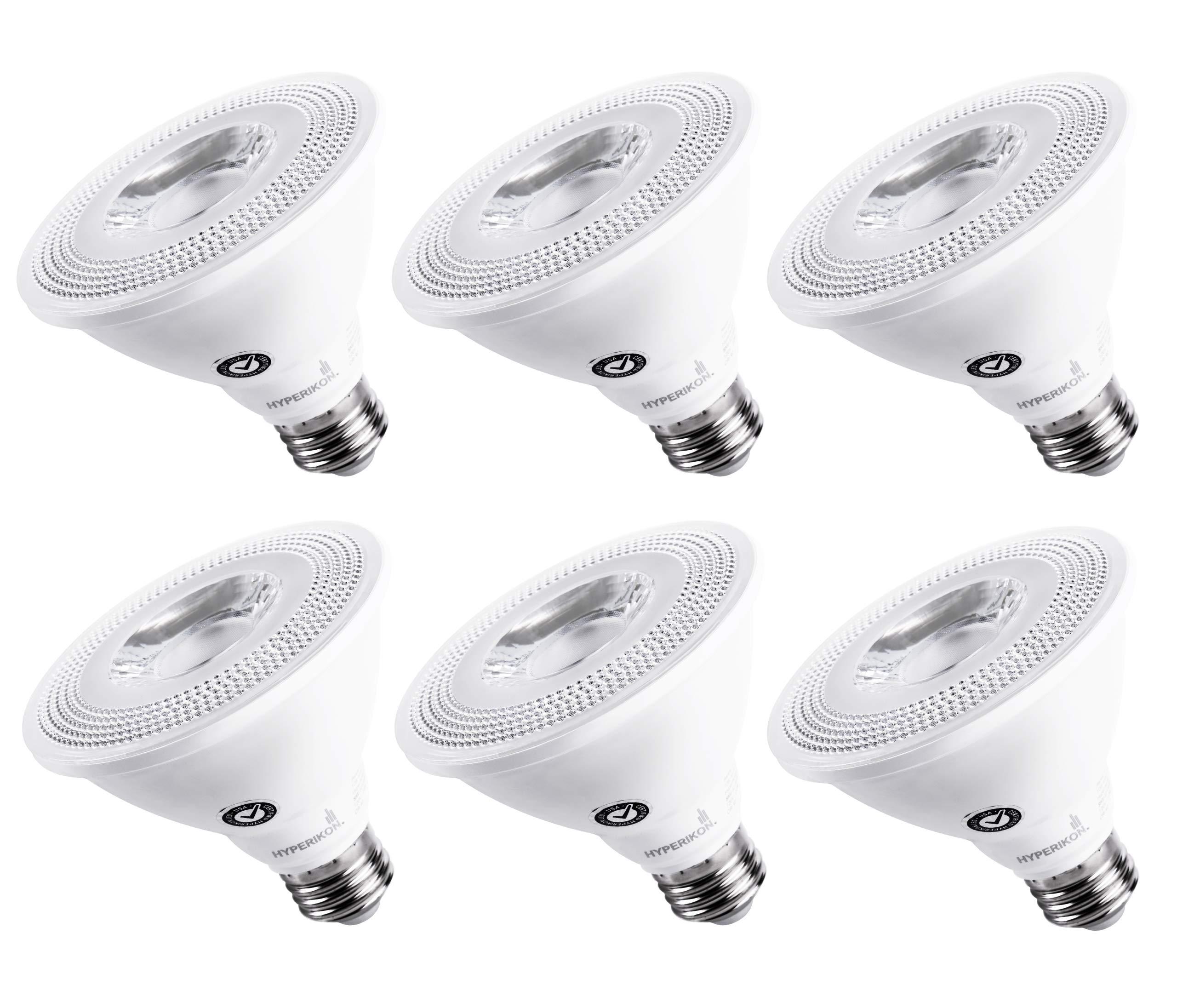 Hyperikon LED PAR30 Bulb, Short Neck 65 Watt (10W), Dimmable Flood Light, E26 Base, 2700K, E26, CRI90, 6 Pack