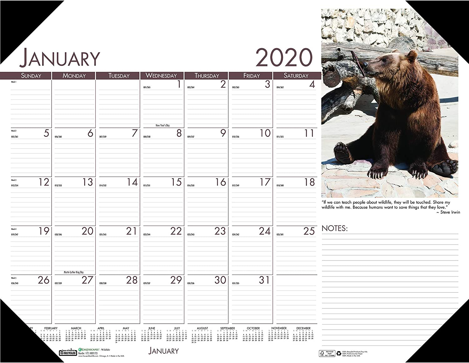 House of Doolittle 2020 Monthly Desk Pad Calendar, Earthscapes Wildlife, 22 x 17 Inches, January - December (HOD172-20)