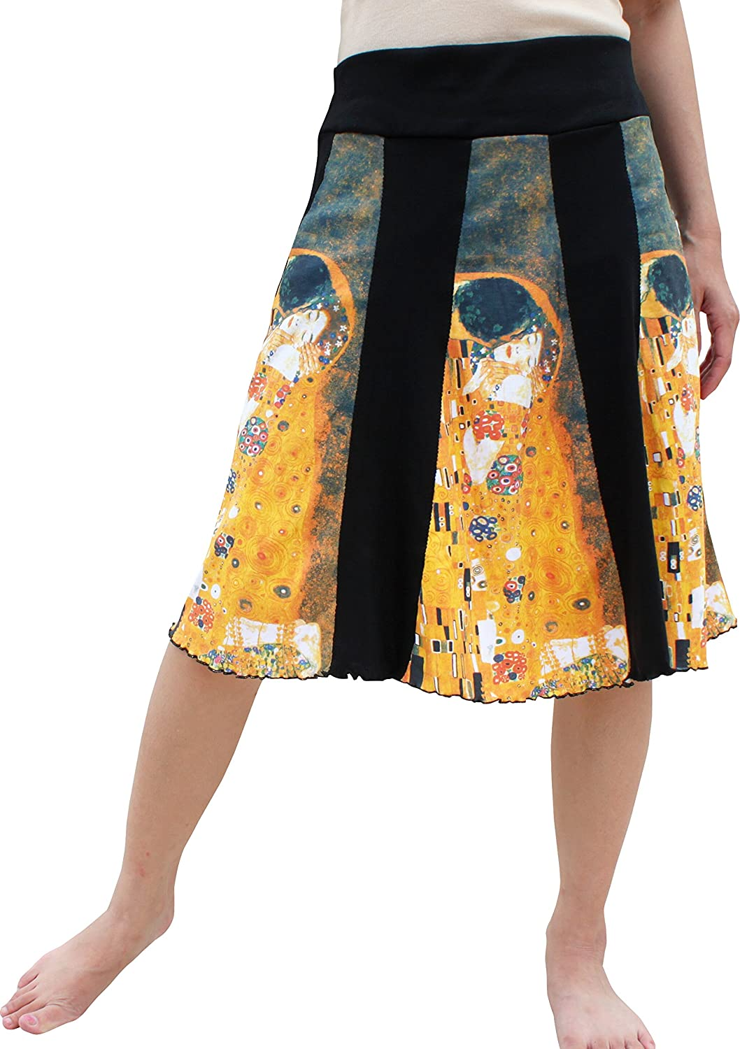 RaanPahMuang Gustav Klimt The Kiss Knee Length Panel Skirt