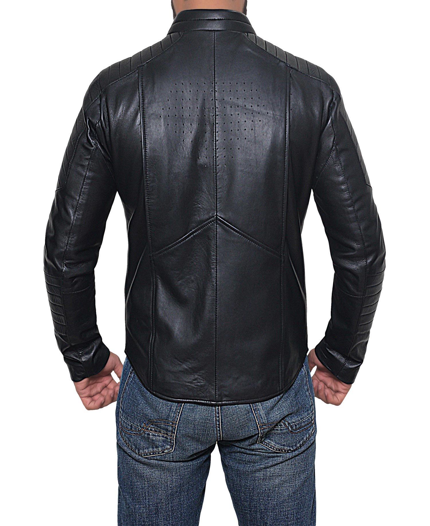 Mens Black Superman Leather Slim Fit Jacket (Superman Jacket, XL) by Decrum (Image #4)