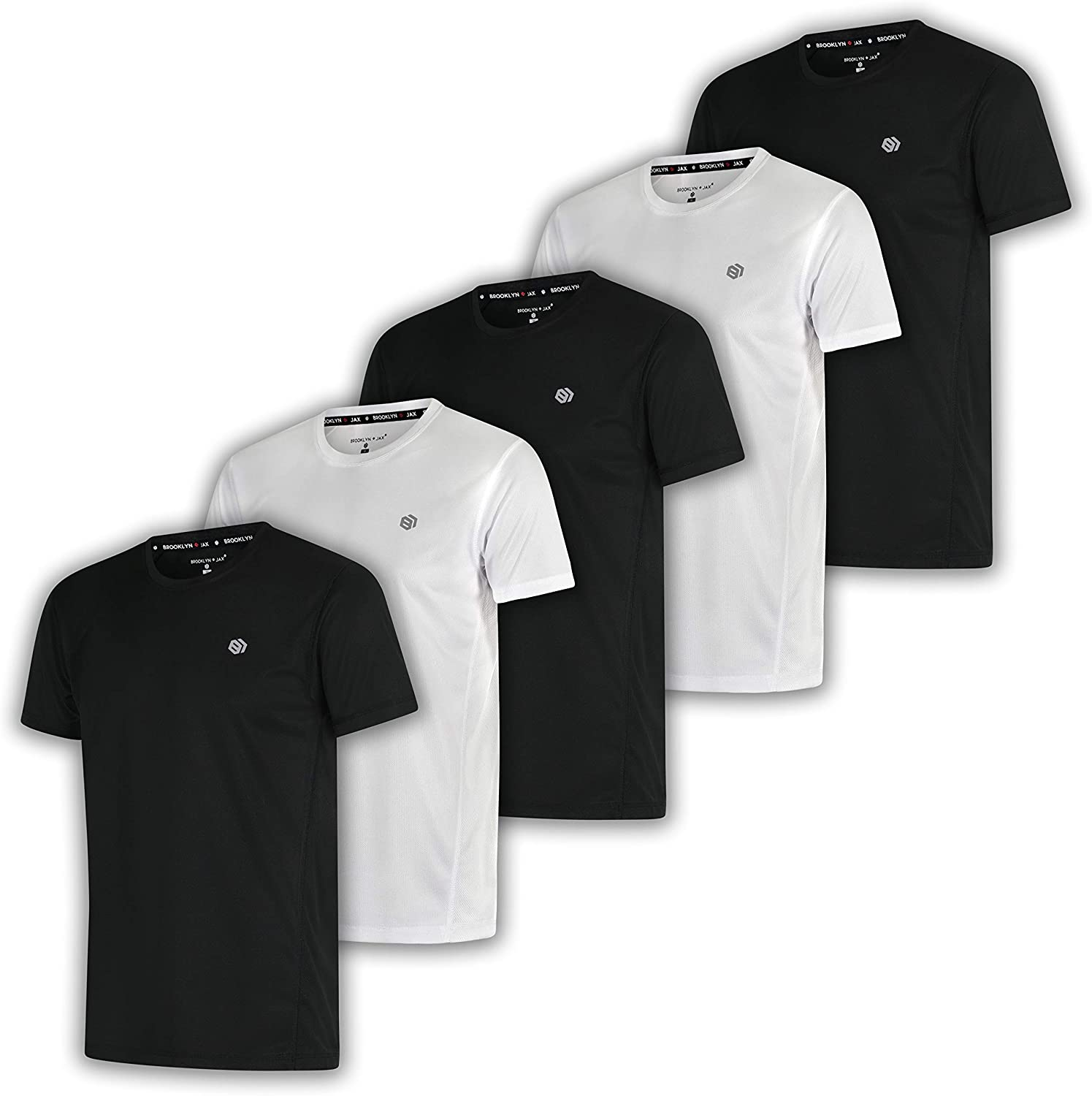 5 Pack: Compression Men's Dry-Fit Moisture Wicking Active Athletic Performance Crew Neck, Active Top