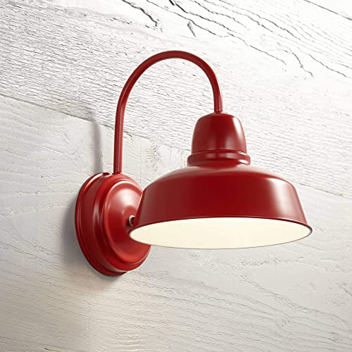 Urban Barn Farmhouse Outdoor Wall Light Fixture Red Steel 13 for Exterior House Porch Patio Deck – John Timberland