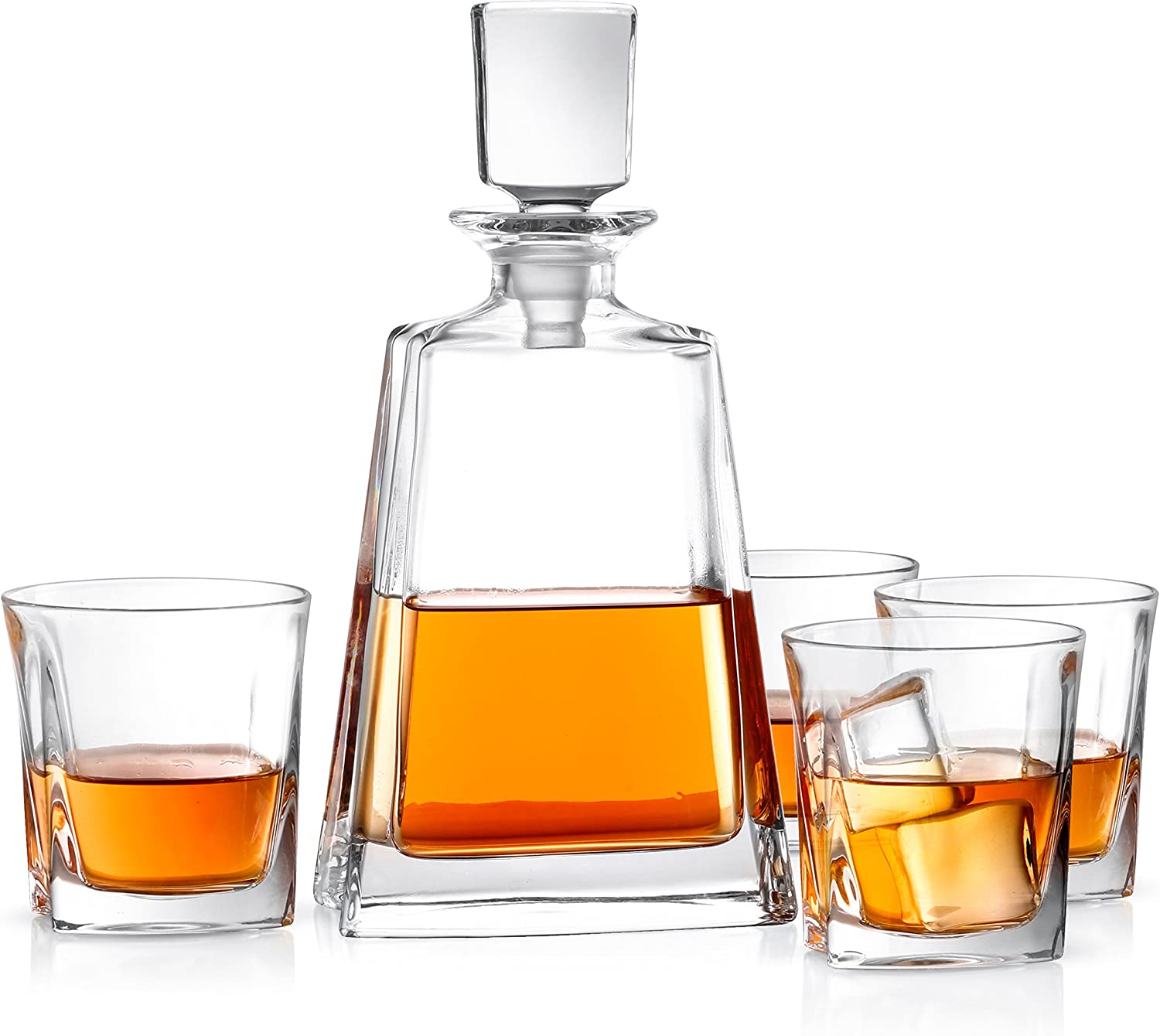 JoyJolt Luna 5 Piece Whiskey Decanter And Glass Set, 100% Lead-Free Crystal Bar Set Prefer For Scotch, Liquor, Bourbon Comes with A Whisky Decanter Sets And 4 Old Fashioned Glasses.