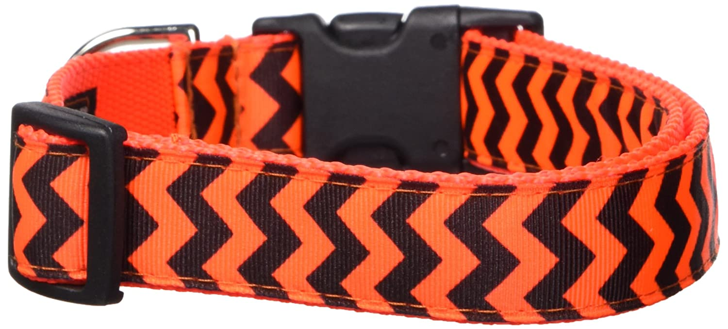 orange Large orange Large Sassy Dog Wear Large Chevron orange Dog Collar, 1-Inch Wide, Adjusts 18 to 28-Inch