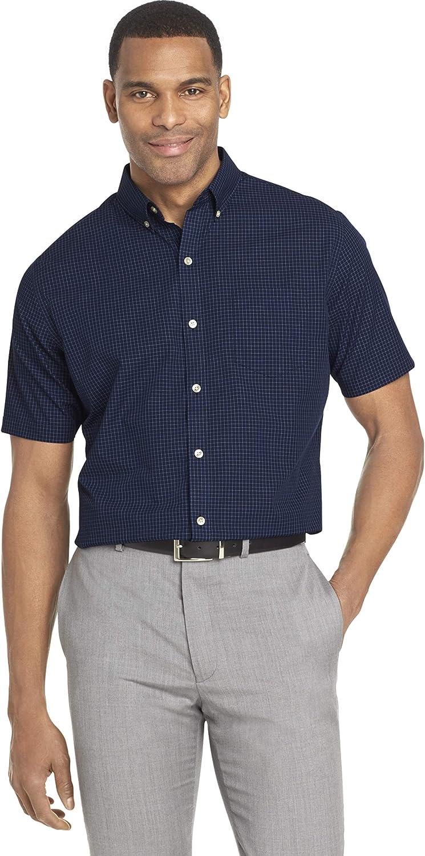 Van Heusen Men's Wrinkle Free Short Sleeve Button Check Down Shirt