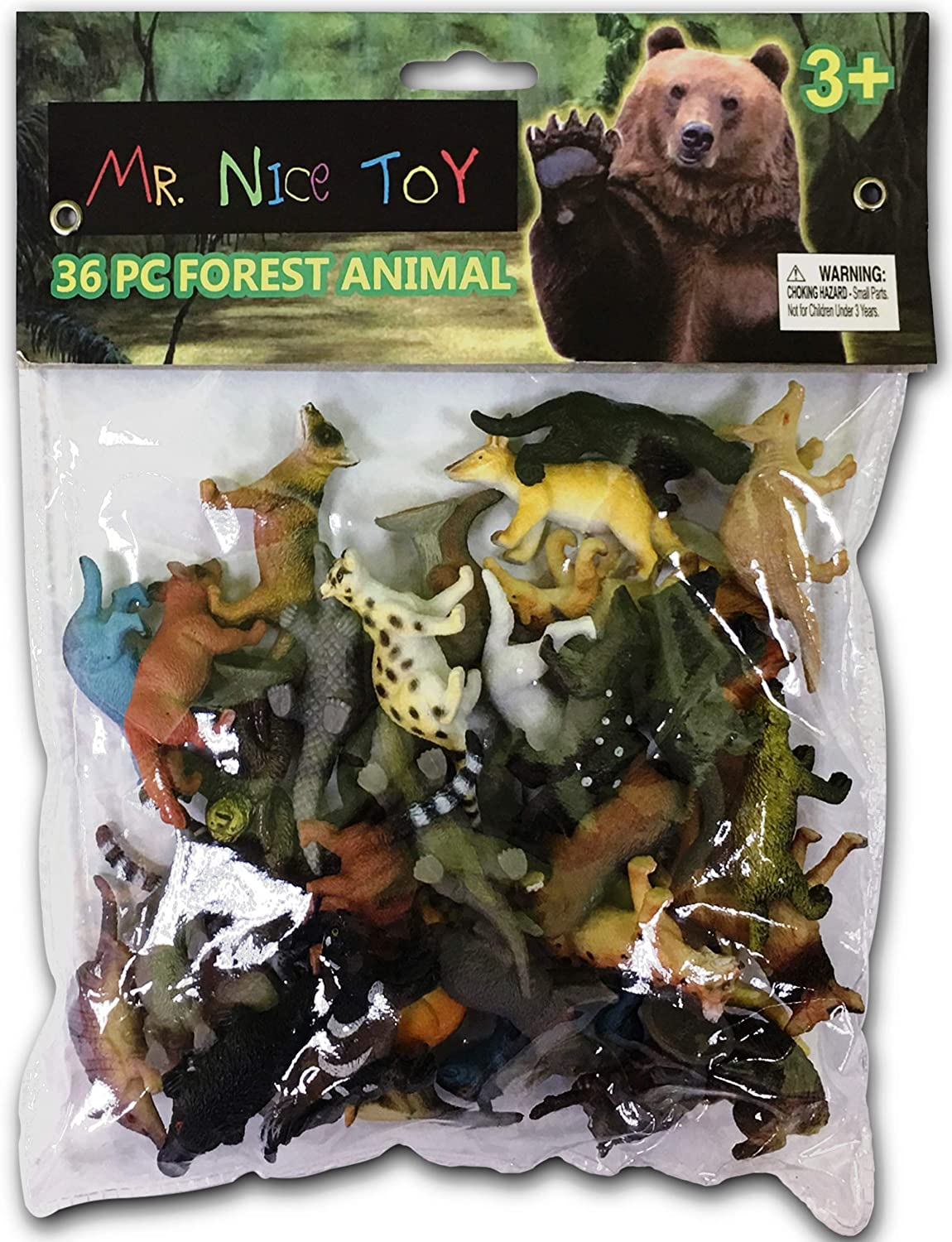 "Mr. Nice Toy 36 Piece Forest Animal Set Assortment 1.5"" to 3"" figures""Styles May Vary"" Multicolor"