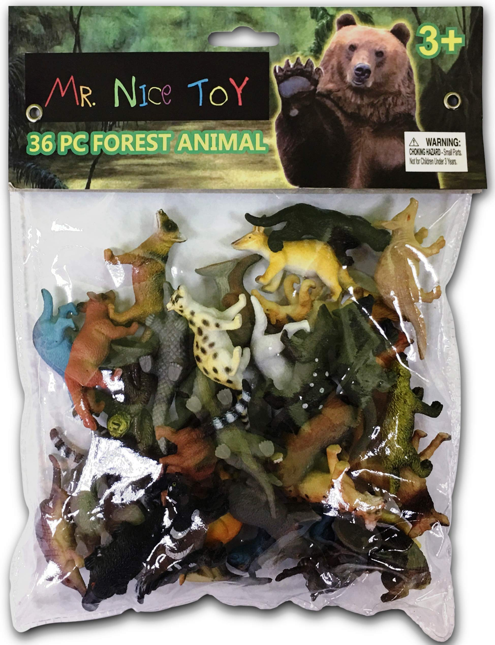 Mr. Nice Toy 36 Piece Forest Animal Set Assortment 1.5'' to 3'' figures''Styles May Vary''