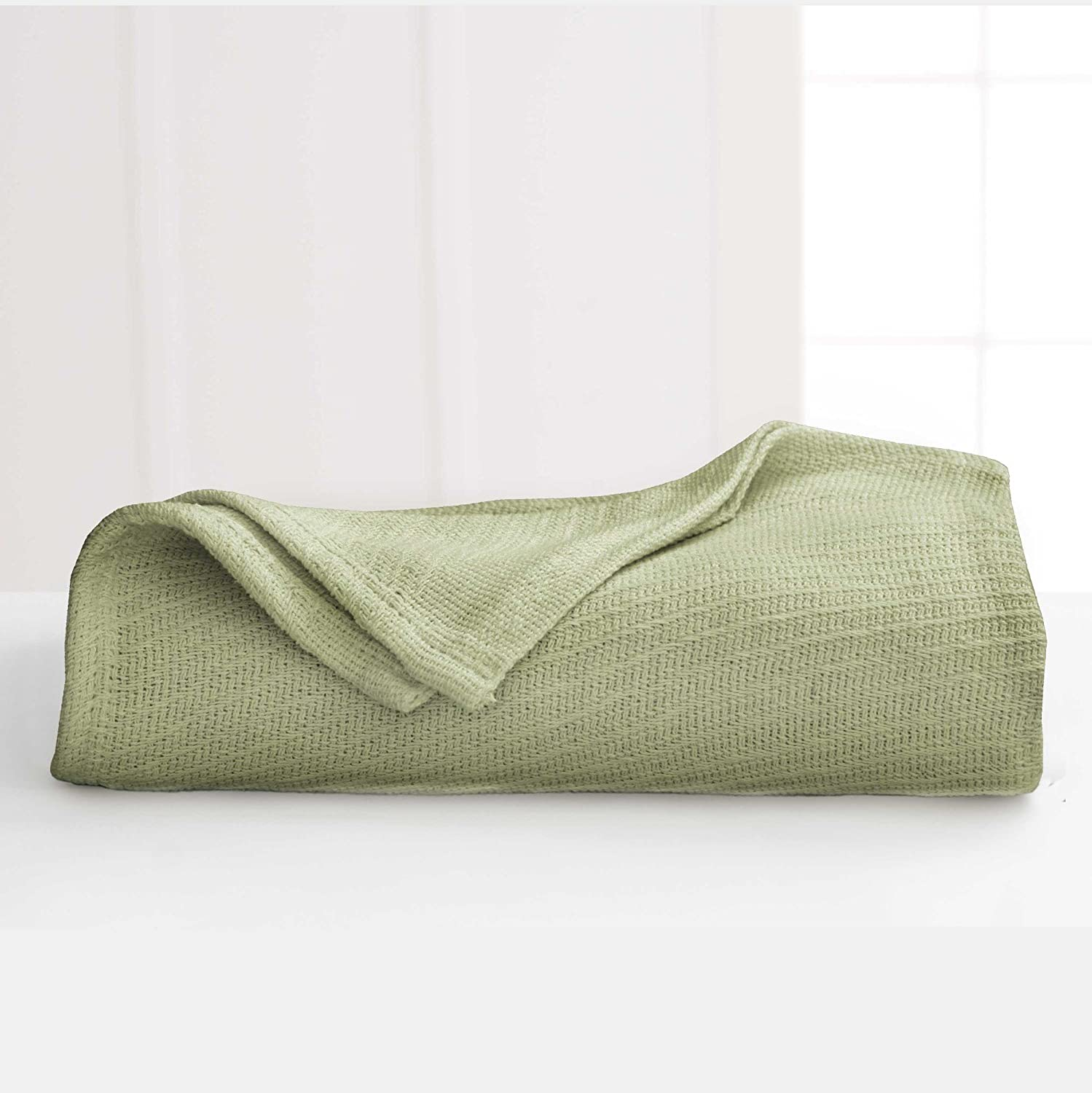Martex Premium 100% Cotton Warm and Cozy Blanket Good for All Seasons, Lightweight and Breathable, Textured, Queen, Sage