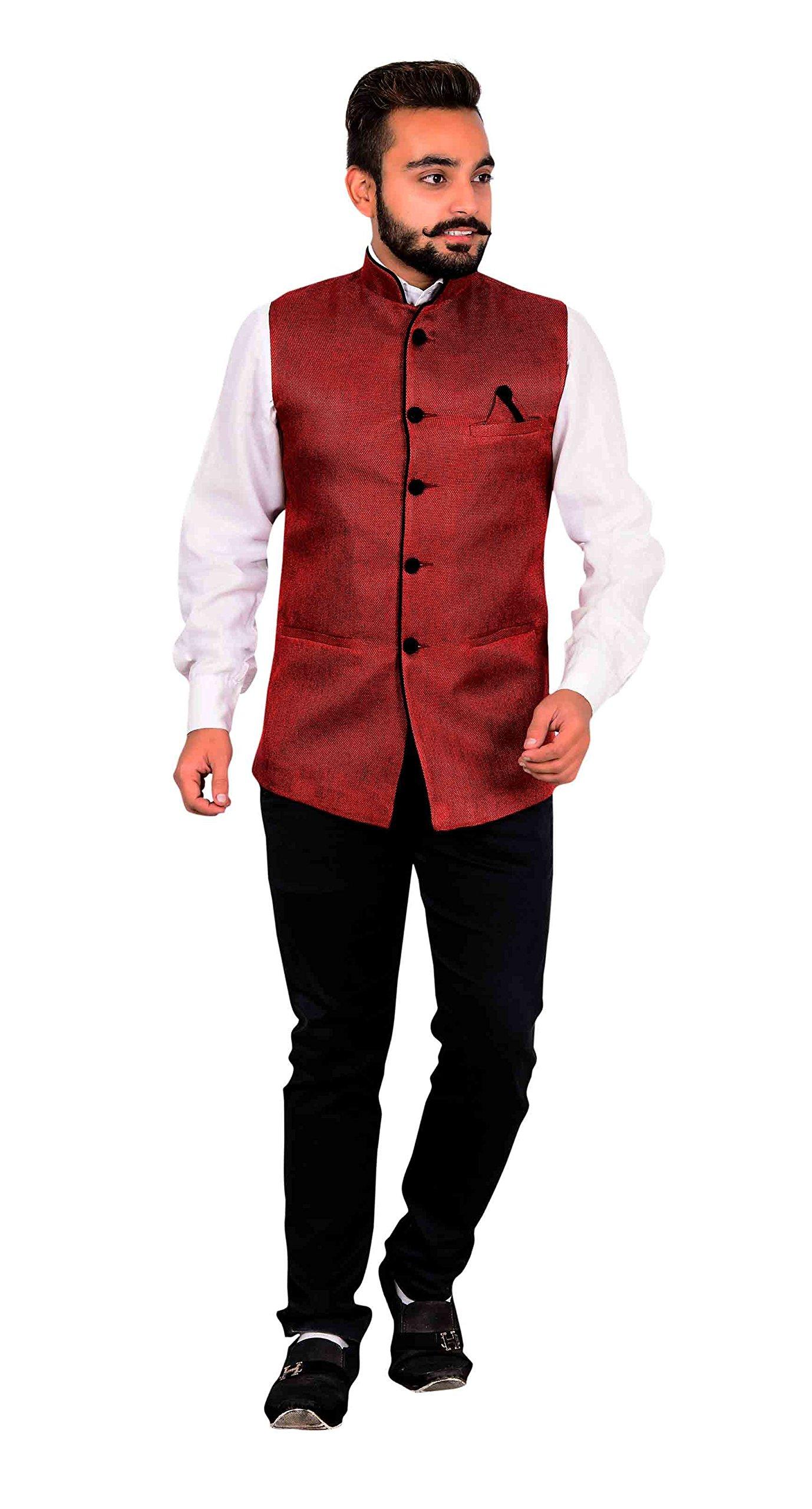 Men's Modi style Waistcoat for shalwar kameez for Indian Bollywood theme & wedding party London 1003 (36 (XS), Maroon)
