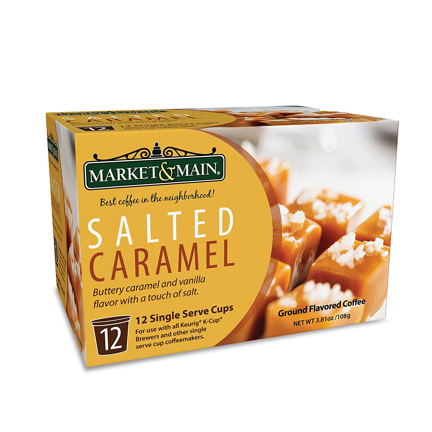 Market & Main OneCup, Salted Caramel, Compatible with Keurig K-cup Brewers, 12 Count