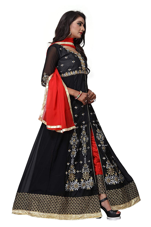 2d80402d446d V.K.Creation Women's Faux Georgette Embroidered Semi-Stitched Anarkali  Salwar Suit (Black, Free Size)