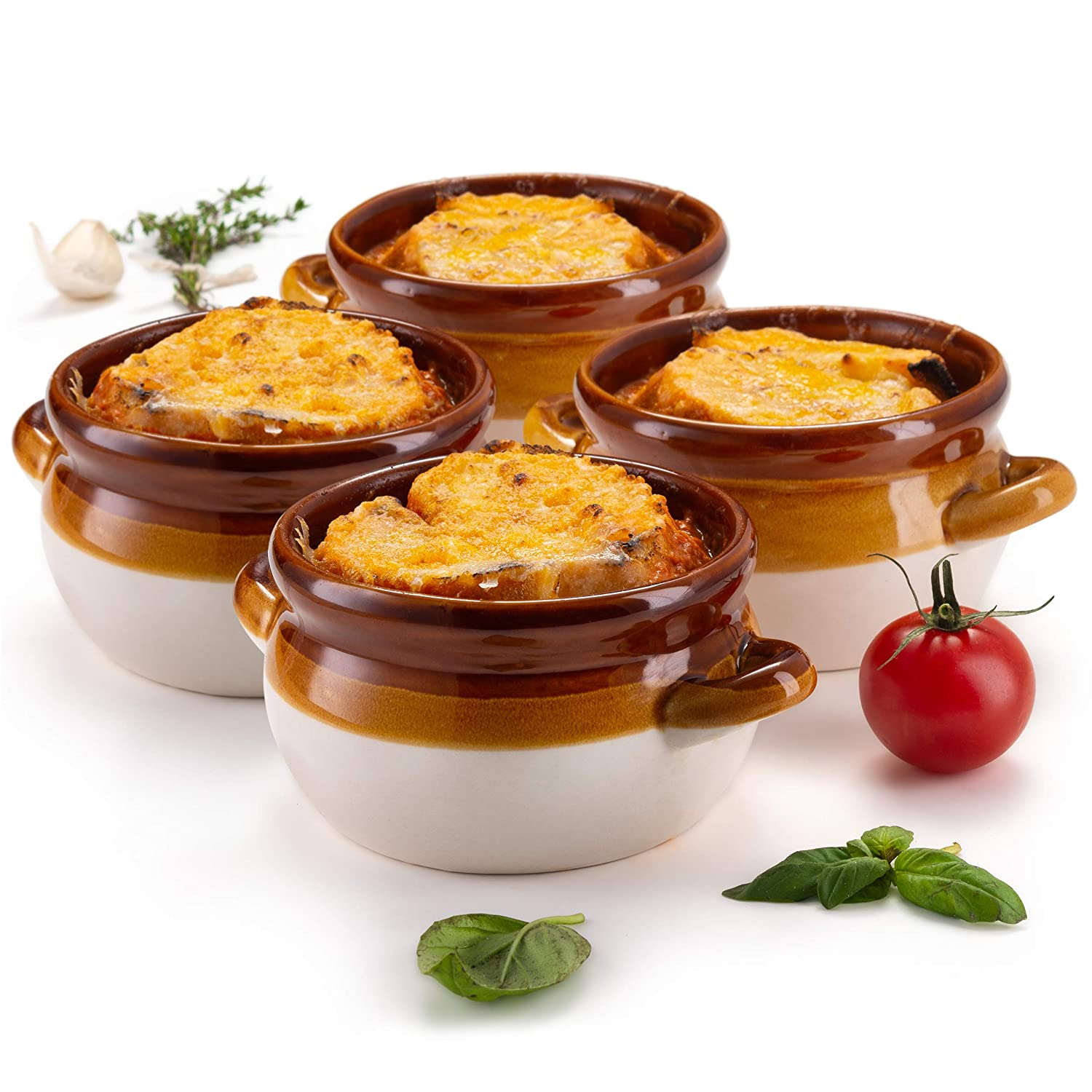 French Onion Soup Crocks, by KooK, Ceramic Make, Large Handles, Stoneware, 15oz