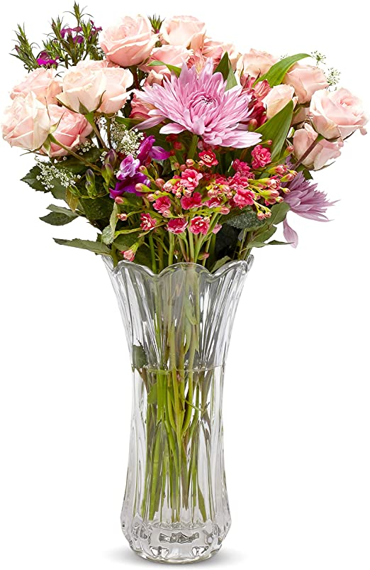 Amazon Com Crystal Flower Vase Tall Glass Bouquet Holder Glass Vases For Decor Clear Flower Vase For Floral Arrangements Centerpieces Weddings Housewarming Kitchen Home 11 25 X 4 Flowers Not Included Home